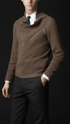 Burberry Cashmere Shawl Collar Sweater. Not sure about how I feel about these layers.