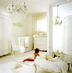 "All white nursery...ahhhh (and not the adorable puppy ""ahh"") the OMG, it will get dirty in 2 secs !!ahhh!!"