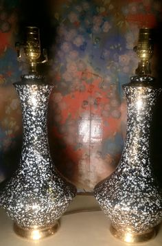 Mid Century Modern Lamp Pair Ceramic Speckled Black Gold White Pottery Atomic Eames era by modpodlove on Etsy