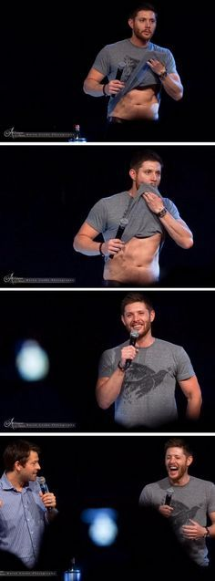 Jensen Ackles unconsciously wipes his mouth with shirt; cracks up as he realizes he flashed audience JIBCon 2015