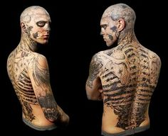 Rick Genest (born August 7, 1985) is a Canadian artist and fashion model born in Montreal. He is also known as Zombie Boy for being tattooed like a corpse across the majority of his body