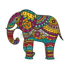 Decorative elephant illustration Indian theme with ornaments Vector isolated illustration  Stock Vector