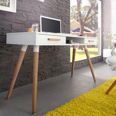 Retro-Schreibtisch-SCANDINAVIA-MEISTERSTUCK-120cm-weiss-Eiche-Konsole-Tisch                                                                                                                                                                                 More