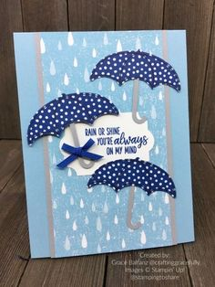 Stampin\' Up! Under My Umbrella created by Grace Balfanz for Stamping to Share. Handmade Birthday Cards, Greeting Cards Handmade, Umbrella Cards, Kids Cards, Craft Cards, Baby Cards, Under My Umbrella, Stamping Up Cards, Message Card