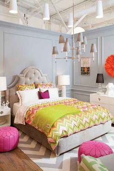 Wall Color:  Benjamin Moore Shadow Grey; colors in bedroom, pink poofs!