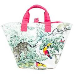 """Hermes Pink White Multicolor Cotton """"Equateur"""" PM Beach Bag"""