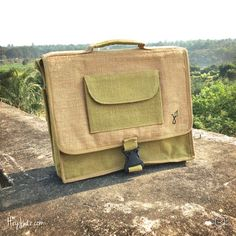 """Eco-friendly Messenger 15"""" Laptop Bag Briefcase Hand-made by HeyJute"""