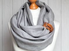 LINEN Infinity Scarf tube scarf with cuff, natural linen scarf, gift ideas, FASHION infinity SCARF