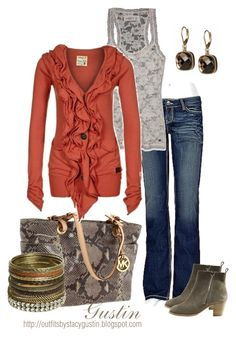 """rust"" by stacy-gustin ❤ liked on Polyvore featuring Banana Republic, BKE, Abercrombie & Fitch, MICHAEL Michael Kors, Khujo, H by Halston, Wet Seal, animal print bags, cardigans and stacked bracelets"