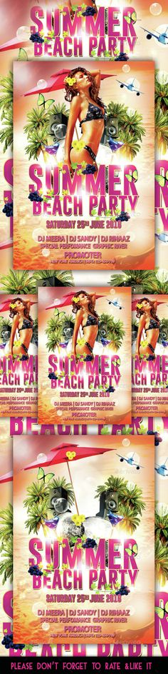 Summer Beach Party Flyer Summer beach party and Party flyer