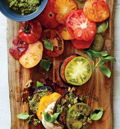 THE SKINNY - eggplant tomato pesto stacks 295 calories per serving, 23 g fat (6 g saturated), 14 g carbs, 6 g fiber, 11 g protein