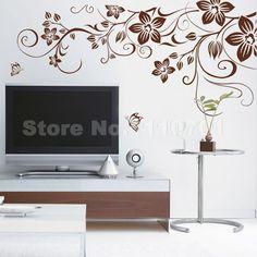 Brown flower vine DIY Vinyl Wall Stickers Home Decor Art Decals 3D Wallpaper Bedroom Sofa house decoration adesivo de parede