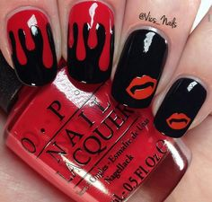 Blood drops and lips ... Halloween nail art, black & red nails