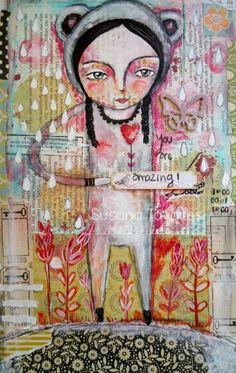 You are amazing   mixed media painting-   art Print 8 x 10 by SusanaTavares,