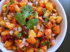 Chipotle Peach Salsa -- it isn't summertime (and thus, woefully, not the season for peaches), but this would make a great #antiinflammatory snack.