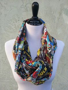 Marvel Comic Fabric Infinity Scarf - Spiderman, Thor, Wolverine, Captain America, Iron Man, Hulk. $22.00, via Etsy.