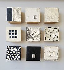 "Geometry in Black and White by Lori Katz (Ceramic Wall Sculpture) (16"" x 16"")"