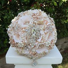"""Elegant Vintage Rose Gold Bouquet This listing is for a 10"""" Vintage Rose Gold Blush Bridal Brooch bouquet. Bouquet is custom made to order and is approx 29"""" in diameter. Elegant Blush Ivory mix tone b"""