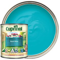Cuprinol Garden Shades has been specially developed to colour and protect sheds, fences and other garden wood. Its special pigments ensure a rich colour and allow the natural texture of the woodgrain to shine through. Blue Garden, Colorful Garden, Shade Garden, Brick Wall Gardens, Painted Garden Furniture, Cuprinol Garden Shades, Painted Shed, Garden Fence Art, Beach Shade