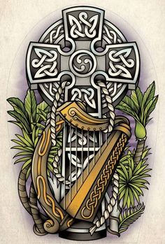 This is a celtic half sleeve tattoo I designed for Dean Colwill. Dean ask me to design a half sleeve of a celtic cross and to incorporate a Harp some how. Irish Symbols, Celtic Symbols, Celtic Art, Celtic Crosses, Line Tattoos, Sleeve Tattoos, Tatoos, Arm Tattoos, Gypsy Girl Tattoos