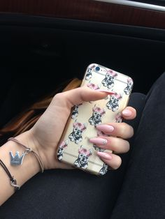 My prom Nails #pink#swarovski#long
