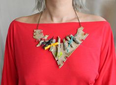 Leather bib necklace Bold chunky necklace Big artisan