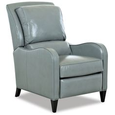 The Comfort Design Lowell High Leg Recliner, shown here in Outsider Petrol Leather Upholstery, is made in America by the finest artisans in the furniture capital of the world, North Carolina.<br /><br /><b>Additional Details</b><ul><li>Available in Leather and Fabric Upholstery</li><li>Arm Height is 26 in.</li></ul><br />Overall size is 30 in. W x 40 in. D x 42 in. H.