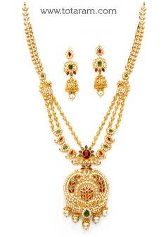 22K Gold 'Peacock' Long Necklace & Drop Earrings Set with Ruby,Emerald , Cz & South Sea Pearls - GS2708 - Indian Jewelry Designs from Totaram Jewelers