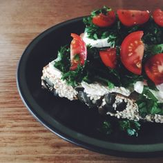 Delicious breakfast - cream cheese, parsley, basil and tomato on buckwheat toast. Running low on spare veg for the 'Seasonal Veg and Cream Cheese on Sourdough' breakfast. Week 7 #iqs8wp #iqs #iquitsugar #iqsjerf #vegetarian