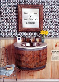 Full size barrel with bowl sink on top would be cool.  Cut door in barrel and also use for storage under sink.