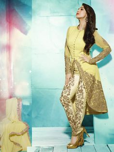 DandelionDazzle up your evening look in this Faux Georgette, Long Front slit Kameez in Yellow - See more at: http://www.akalors.in/New-Arrivals/Light-Dandelion-Faux-Georgette-Long-Kameez-with-Straight-Pant-id-1822782.html#sthash.gSZt4fb0.dpuf