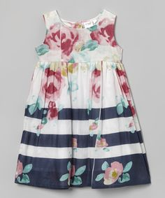 White & Navy Floral A-Line Dress - Toddler & Girls