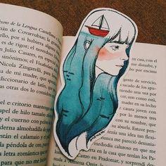 Imagen de art, diy, and drawing Creative Bookmarks, Cute Bookmarks, Bookmark Craft, Paper Bookmarks, Cool Art Drawings, Art Drawings Sketches, Watercolor Bookmarks, Watercolor Art, Marker Kunst