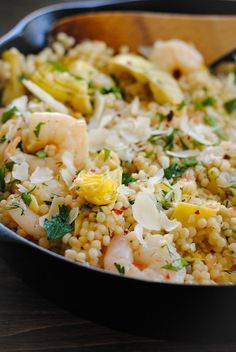 Add this #light & budget-friendly Shrimp with Lemon and Artichoke Couscous to your dinnertime menu this week.