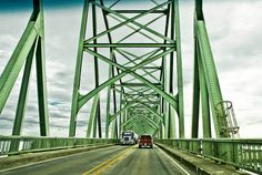 Crossing the McCullough Bridge - DSC05344 Headed south-bound on U.S.Highway 101 across the Coos River into the city of North Bend in Coos County, Oregon. Built in 1936, added to NRHP Aug 5th, 2005, as #05000817 listed as the Coos Bay Bridge