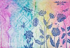 Rachel Kleinman creates a beautiful art journal page with a variety of stencils - Rug by Julie Balzer Designs, Whimsy Garden and Flying Garden by Carmen Medlin