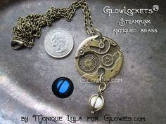 Glowies.net - Steampunk Gears Glow Orb Locket Glowie Pendant Bronze