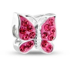 Bling Jewelry Girly Girl Charm ($21) ❤ liked on Polyvore featuring jewelry, pendants, charms, pandora, bead-charms, pink, monarch butterfly jewelry, charm pendant, beading charms and pink jewelry
