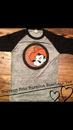 Oklahoma State University - Pistol Pete burnout baseball tee. By Kickoff Couture