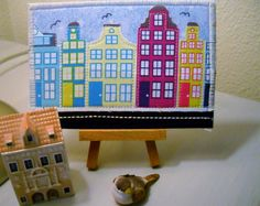 Amsterdam Fabric Picture Postcard, Machine Embroidery Postcard, Greeting Card