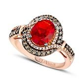 Le Vian 14k Rose Gold Ring, Fire Opal (9/10 ct. t.w.), Chocolate ( 1/3 ct. t.w.) and White Diamond (1/6 ct. t.w.) Ring