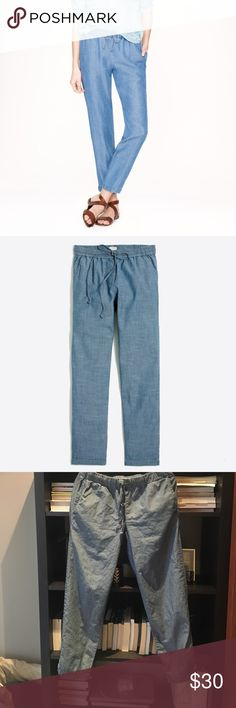 J Crew chambray pull on pants slim fit Really cute lightweight chambray pants with drawstring feature, pockets, elastic waist , and pockets (front and back). Perfect summer pant - good for travel. J. Crew Pants Track Pants & Joggers