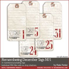 "Print these out on cardstock, take notes each day, and then slip into pockets in your December Daily journal.  From Designer Digitals,   Remembering December Tags by Katie Pertiet -- Numbered/Dated Journaling vintage style tags with the bottom portion ""punched"" like a ticket. Each approximately 5.5x2.75"".  #SimpleDecDaily"
