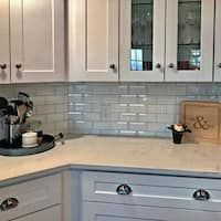 Shop for SomerTile Malda Beveled Subway Glossy White Ceramic Wall Tile sqft. Get free delivery at Overstock - Your Online Home Improvement Shop! Get in rewards with Club O! Beveled Subway Tile, Ceramic Subway Tile, Subway Tile Kitchen, Concrete Kitchen, Backsplash Panels, Stone Backsplash, Kitchen Backsplash, Kitchen Reno, Kitchen Cabinets