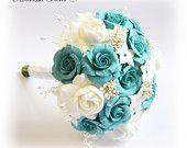 "Bouquet With Turquoise / Aqua Blue Roses, White Gardenias And Stephanotis Flowers (7"")"