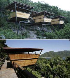 eco-friendly platform suites at the Verana Hotel, Yelapa, Mexico Ideas Cabaña, Casa Loft, Tree House Designs, Tower House, Forest House, Eco Friendly House, Modern House Design, Modern Rustic, Pergola