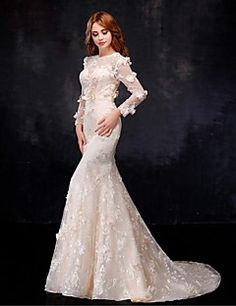 Mermaid+/+Trumpet+Illusion+Neckline+Floor+Length+Organza+Wedding+Dress+with+Flower+by+Embroidered+bridal+–+GBP+£+332.18