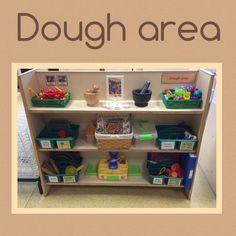 Dough Area Set-Up Idea (from Tishy Lishy) Reggio Classroom, Classroom Layout, Classroom Organisation, New Classroom, Classroom Setting, Classroom Design, Preschool Classroom, Classroom Ideas, Kindergarten Crafts