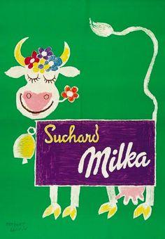 Milka #chocolate cow - Herbert Leupin (1952)  @frances_quinn  via @_HaliAnge