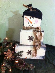 Primitive snowman stacking wood blocks-primitive snowman, snowman blocks, Christmas decor, snowman collector, winter decor, stacking blocks snowman, snowman rusty snowflakes, primitive snowman, Christmas decor, country Christmas, primitive Christmas decor